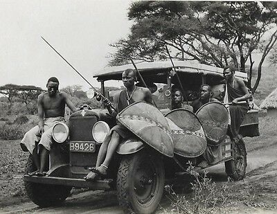 AWESOME!  Masai Warriors / Hunters On A 20s Minibus ANTIQUE, UNIQUE Photo Tribal