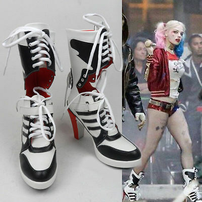HOT DC Suicide Squad Costume Shoe Harley Quinn Highheels Boots Halloween Cosplay
