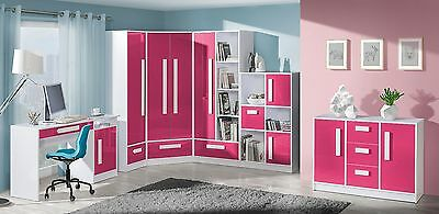 GULIVER pink gloss and white children girls teenagers youth furniture cupboard