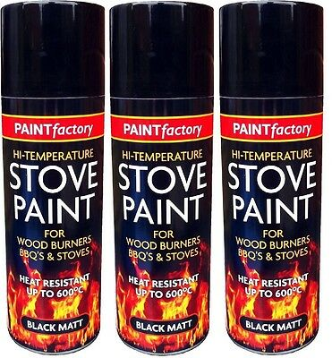 3x High Temperature Spray Heat Resistant Mat Black Paint up to 600 Degrees-200ml