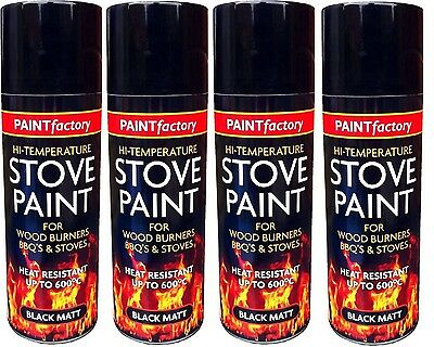 4x High Temperature Spray Heat Resistant Mat Black Paint up to 600 Degrees-200ml