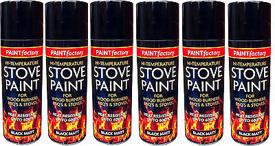 6x High Temperature Spray Heat Resistant Mat Black Paint up to 600 Degrees-200ml