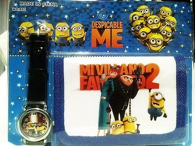B048 Kids Trifold Despicable Me Minion Cute Wallet and Leather Watch Gift Sets