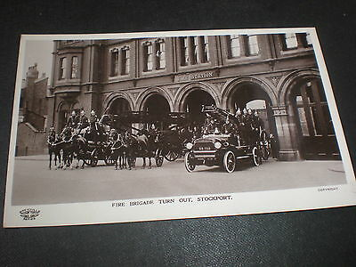 Old real photo postcard Fire Brigade Stockport c1910s