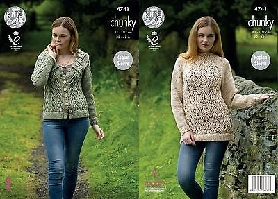9833df77a King Cole 4741 Knitting Pattern Womens Raglan Sweater and Jacket in Chunky  Tweed