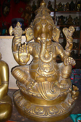 Big Bronze Ganesh Hand Made in Nepal.Special Hindu God For Fortune Ganesha