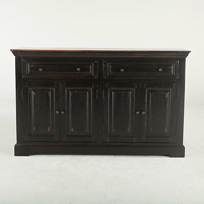 """66"""" black rubbed walnut old english style buffet sideboard 4 doors 2 drawers"""