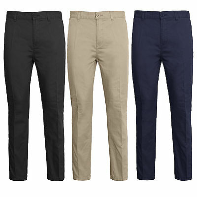 Mens Stretch Chino Trousers Regular Fit Jeans Pant Elasticated Adjustable waist