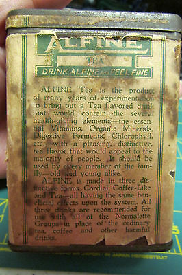 Alfine Tea manufactured by Health Laboratories Long Beach California paper label