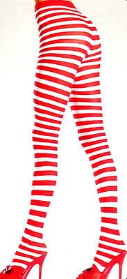 BW 517 Striped Tights CanCan Raggedy Doll Clown Mrs Santa Elf 1Sz Red White