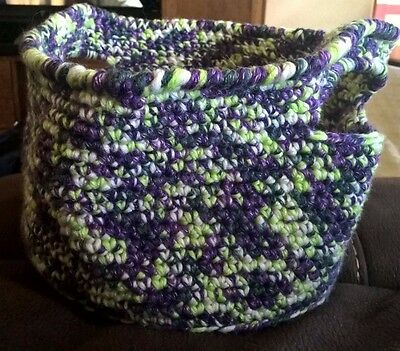 Handmade WOOL Crocheted Basket Shades of Purple and Green Large Storage Shopping