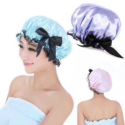 Women Lady Waterproof Elastic Plastic Bowknot Shower Bathing Salon Hair Cap Hats