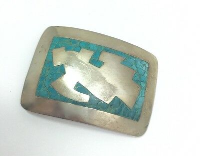 Heavy Taxco Signed By Hector Turquoise Chip Inlay Belt Buckle Sterling Silver...