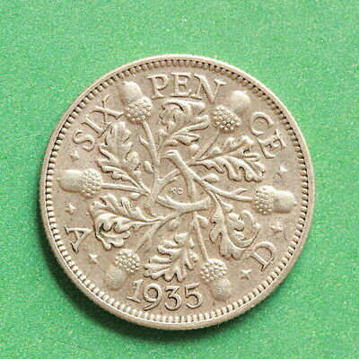 1935 - George V - Silver Sixpence - SNo40631