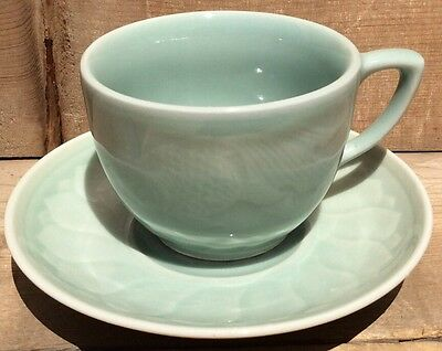 Chinese Longquan Celadon Koi Fish Goldfish Teacup And Saucer