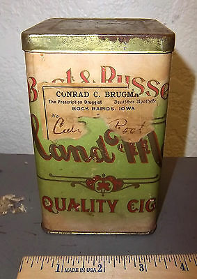 VINTAGE Best & Russell Hand made Quality Cigar tin paper label great collectible