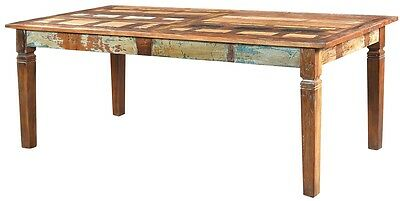 """84"""" Long Ina Dining Table 7ft Solid Rustic Reclaimed Salvaged Wood Multi Color"""