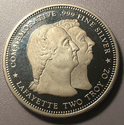 1900 Lafayette Commemorative Two Troy Ounce Proof Silver Round .999