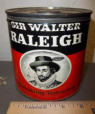 VINTAGE Sir Walter Raleigh 14 oz tobacco tin, great graphics, colors & condition
