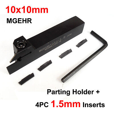 10mm Parting Off Slotting Lathe Tool Holder MGEHR 1010 Grooving + 4PC Inserts