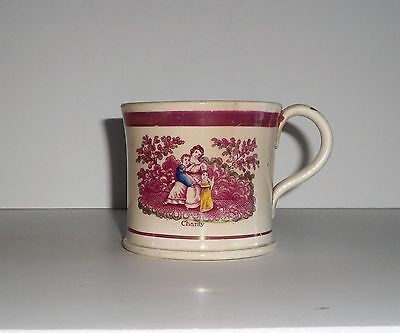 Circa  1800's Antique Hope And Charity Pearlware Rose Lustre Coffee  Can Or Mug