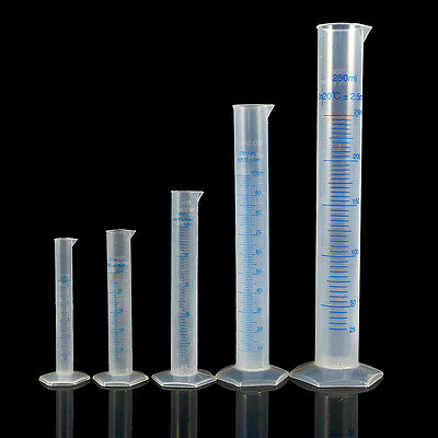 10-250ml Measuring Cylinder Plastic Graduated Laboratory Trial Test Liquid Tube
