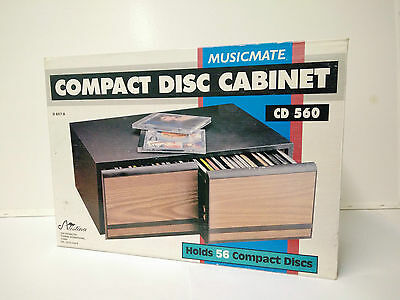 Brand NEW Vintage Wood Grain 56 Compact Disc Storage Cabinet (CD560)