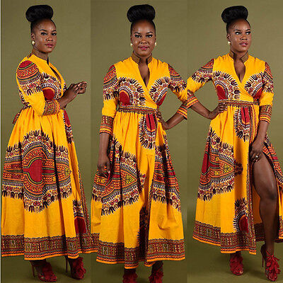 Women Cloak African Print Dashiki Casual  Long Sleeve Party Evening MAXI Dresses