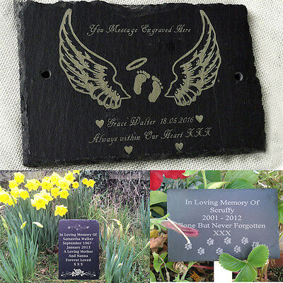 Personalised Engraved Natural Slate Pet Memorial Grave Marker Headstone 15x10cm