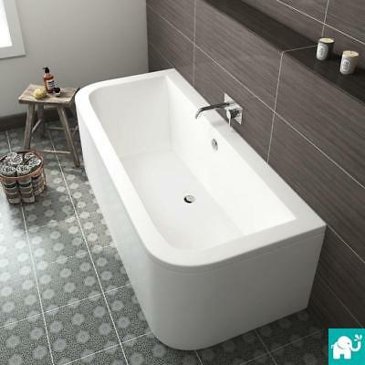 Modern Bathroom Bath Double Ended D-Shape Back To Wall Acrylic 1700 x 750mm