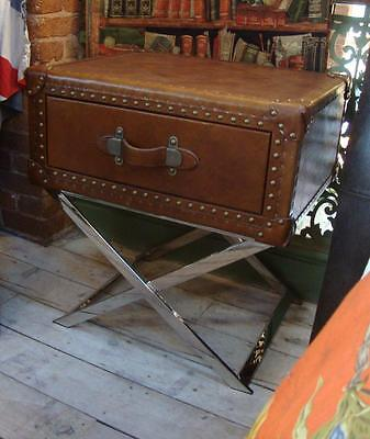 Leather Trunk / Suitcase style Side Table w/Drawer - X Frame Metal Legs Base