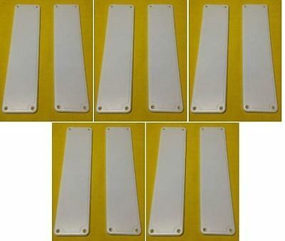 SET OF 10 Plastic Door Finger Plates White Good Quality Easy to Fit push plates