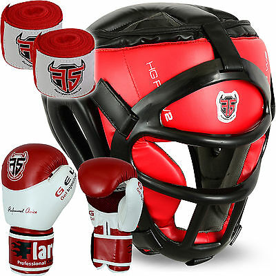 Flaresport Grill Head Guard Face Protection Hand Wraps Kick Boxing Gloves Gear