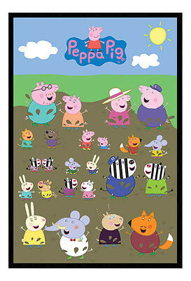 Framed Peppa Pig Characters Muddy Puddle Poster New