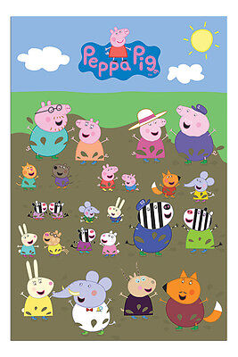 Peppa Pig Characters Muddy Puddle Poster New - Maxi Size 36 x 24 Inch