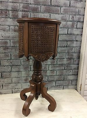 Antique Vtg French Italian Style Carved Mahogany cane round planter Plant Stand