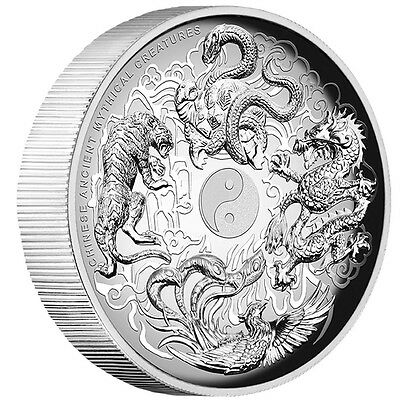 1oz Silver Proof High Relief Chinese Ancient Mythical Creatures Tuvalu 2016