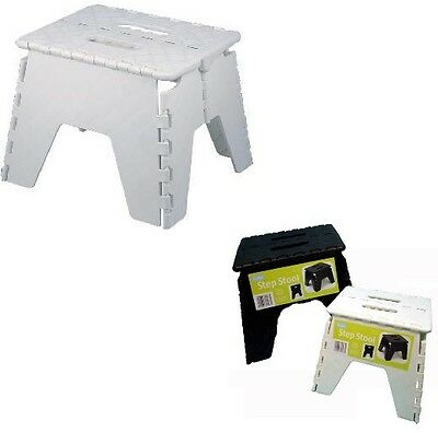 Foldable Step Stool Indoor/Outdoor Multi Purpose Heavy Duty Storage Seat White