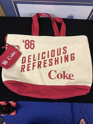 Large Vintage '86 Style Coca Cola Canvas Backpack Bag Beach Storage Made In 2013
