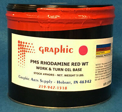 Pms Rhodamine Red Offset Ink - Work & Turn Oil Base Ink 1 X 5 Pound Can