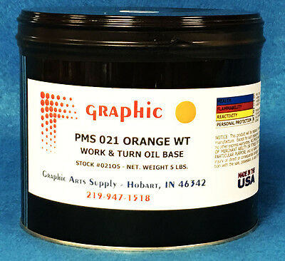 Pms 021 Orange Offset Ink - Work & Turn Oil Base Ink 1 X 5 Pound Can