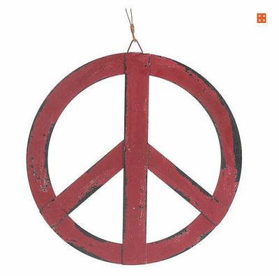 12''x12'' Red Rustic Metal Ornament Groovy Peace Sign Hanging Wall Door Decor