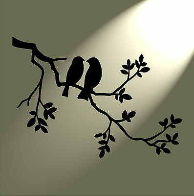 Shabby Chic Stencil 2 birds in tree Rustic Mylar. Vintage style A5 148x210mm