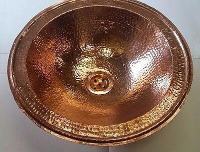 Red Copper Handmade Moroccan Bathroom Basin-Round, Hammered-D39 H12 cm