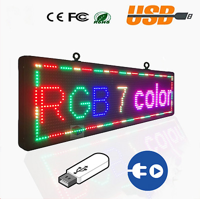 """Programmable 8""""x40"""" P10 LED Display Panel, Scrolling Message Text Sign, Indoor"""