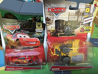 *New* Disney Pixar Cars Diecast DELUXE Oversized BESSIE & Road Repair McQueen