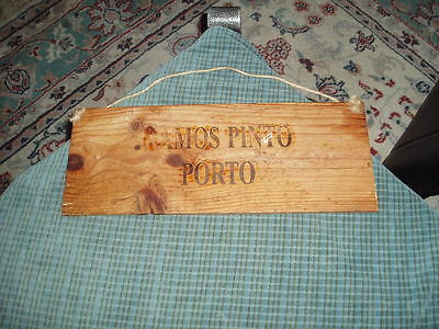 Vintage 1983 RAMOS PINTO PORTO Wood Wine Crate Panel Sign Wall Hanging Unique !