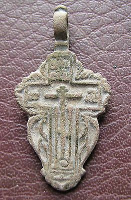 Antique Artifact > 18th-19th C Bronze Russian Orthodox Baptism Cross AA40-9