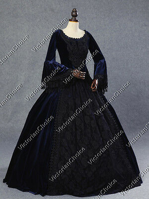 Victorian Gothic Noble Queen Sorceress Gown Steampunk Halloween Costume NAVY 153