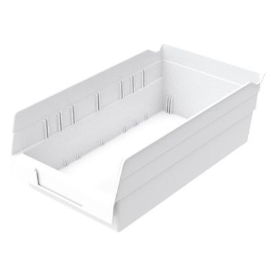 "White Shelf Bin, 11-5/8""L x 6-5/8""W x 4""H AKRO-MILS 30130WHITE"
